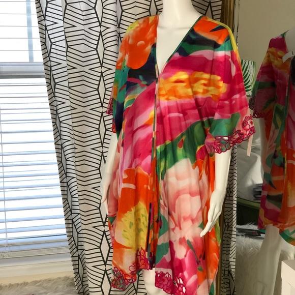 NWT New NATORI Chiffon Swimsuit Cover Up Wrap Skirt Black One Size